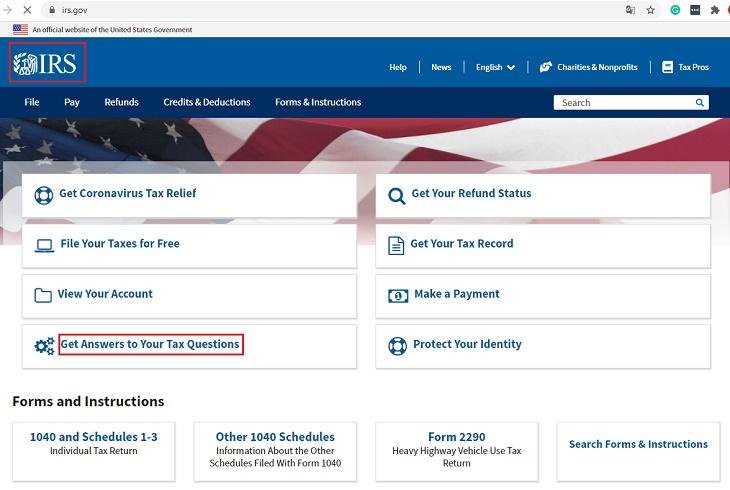 IRS main homepage website