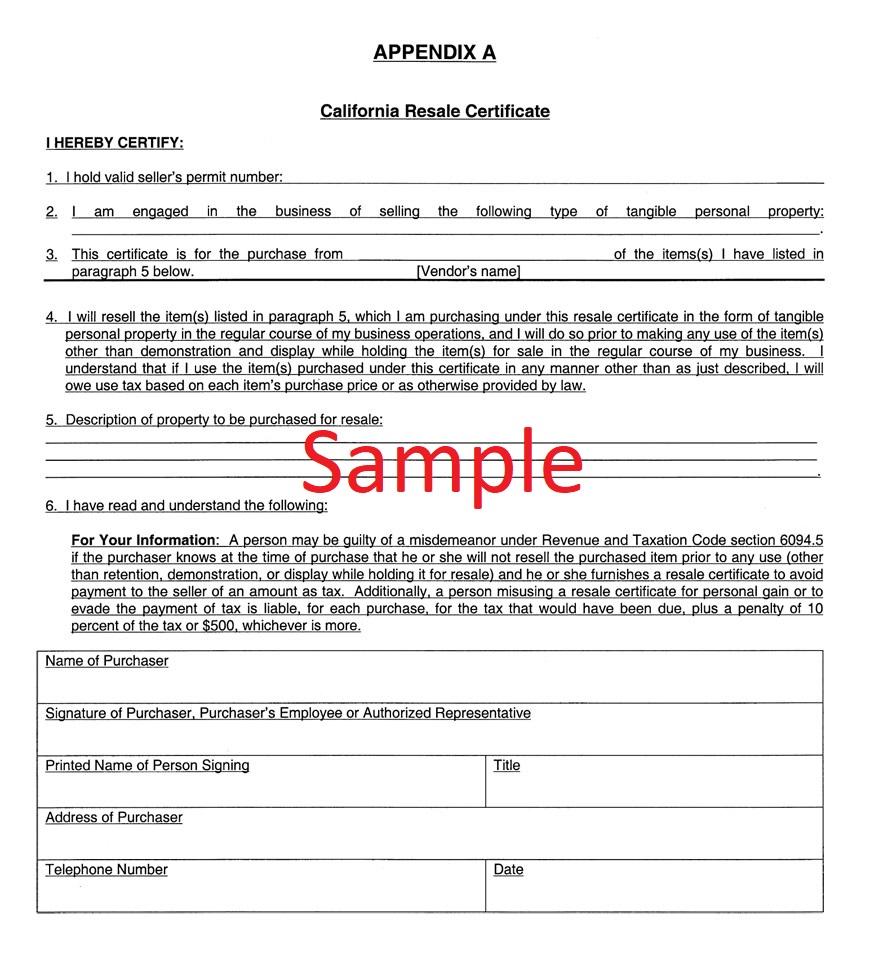 Resale certificate in California sample